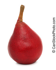 One ripe red pear (isolated) - One ripe red pear isolated on...