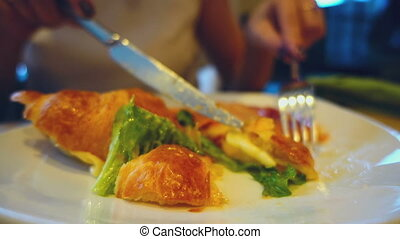 Breakfast croissant with ham and cheese - The girl in the...
