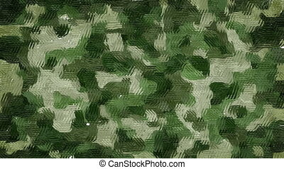 Painted khaki camouflage background - Animated wavy rough...