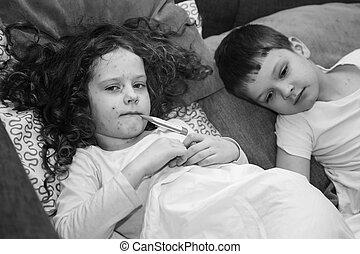 niño, con, chickenpox., negro, y, blanco, portrait.,...