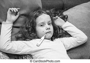 dziecko, mierniczy, temperature., varicella, zoster, Wirus,...
