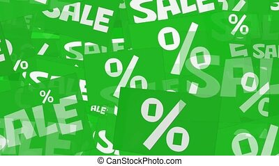 Message sale and percents in white on green