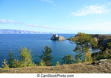 Baikal lake - Olkhon island on Baikal lake. Shaman rock.