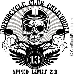 Tee graphic design motorcycle man white background