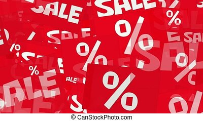 Message sale and percents in white on red