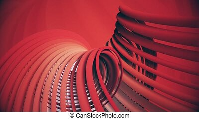 Rotating spirals in dark red with noise
