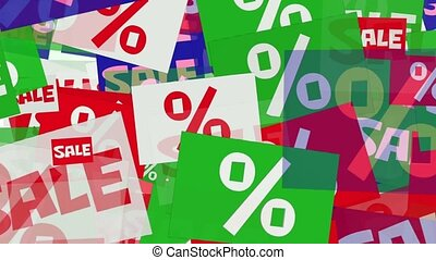 Message sale and percents in various colors