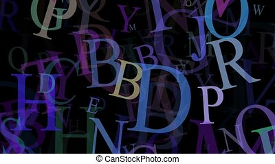 Flying letters in different colors on black