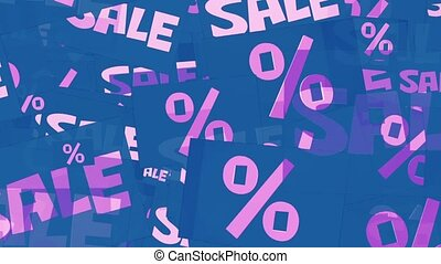 Message sale and percents in pink on blue