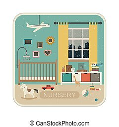 Interior of baby room. - Baby room interior with grunge...