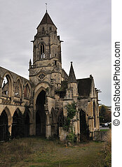 Ruined church of St-Etienne-le-Vieux in French Caen
