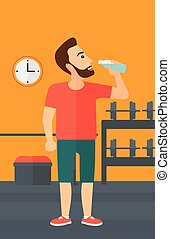 Man drinking water. - A sportive hipster man with the beard...