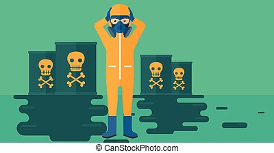 Man in protective chemical suit - A man in protective...