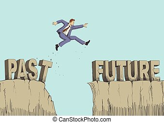 Past to Future - Cartoon illustration of a man jumps from...