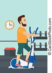 Man making exercises - A hipster man with the beard...