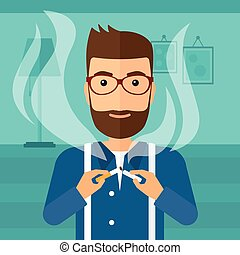 Man quit smoking. - A hipster man with the beard breaking...
