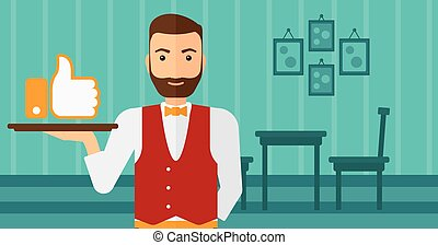 Waiter with like button - A waiter carrying a tray with like...