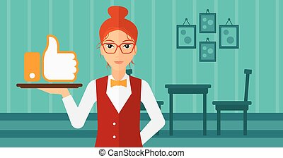 Waitress with like button - A waitress carrying a tray with...