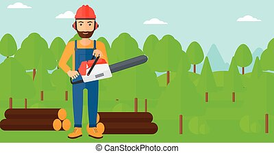 Lumberjack with chainsaw - A hipster lumberjack with the...