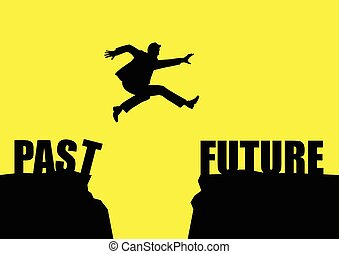 Past To Future - Silhouette illustration of a man jumps from...