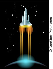 space rocket and blie planet 10 EPS