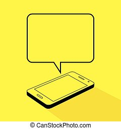 Smart Phone Text Message - Line art illustration of a smart...