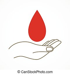 Giving Blood - Simple graphic of a hand with blood drop...