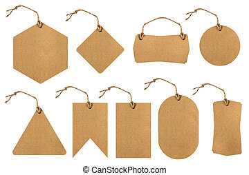 Set of price tags with paper texture - Set of brown paper...