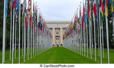 """United Nations building with flags, Geneva, Switzerland,..."