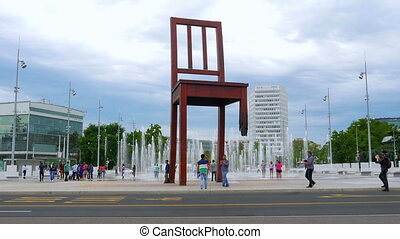 """landmines symbol, broken chair monument, geneva,..."