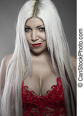 posing, beautiful girl with white hair red corset sinuous