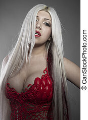 beautiful girl with white hair red corset sinuous