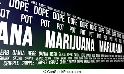 Marijuana and Slang Words Scrolling - Animation of the word...