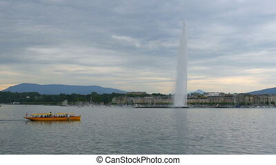 """jet d'eau fountain at geneva lake, switzerland"""