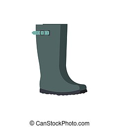 Grey rubber boots flat icon isolated on white background