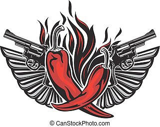 Tattoo style illustration with two red peppers.