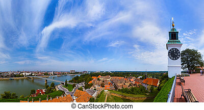 Novi Sad panorama - Serbia - architecture travel background