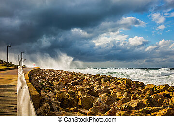 New Quay in the Old Jaffa, Israel - The storm in the...