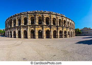 Roman amphitheater in Nimes, Provence Magnificent huge arena...
