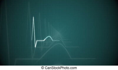 HeartBeat Cardiogram on Green - Abstract HeartBeat...