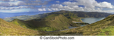 Lagoa do Fogo and green valley panorama on San Miguel island...