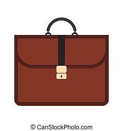 Brown business briefcase flat icon