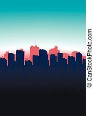 Contour of the big city on a blue b