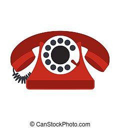 Retro red telephone flat icon
