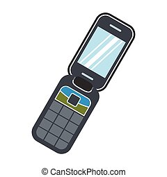 Clamshell handphone flat icon isolated on white background