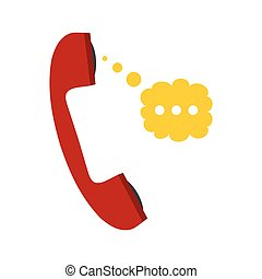 Red handset and speech cloud flat icon isolated on white...