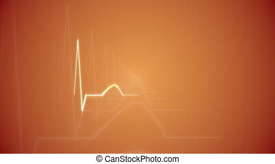 HeartBeat Cardiogram on Orange. - Abstract HeartBeat...