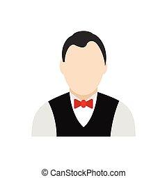 Croupier flat icon isolated on white background