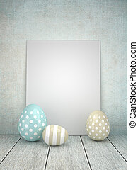 3d Easter glossy eggs lying on rustic table with place for...