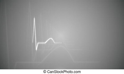 HeartBeat Cardiogram on Gray - Abstract HeartBeat Cardiogram...